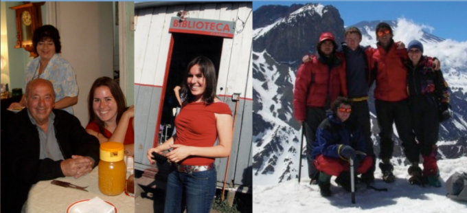 These pictures are from my year abroad. On the left I'm with my host mother, Latife, and her husband Jaime. In the middle I'm standing in front of the library in the Toma de Peñalolen, where I volunteered. On the right, I'm with my montañismo classmates at the top of a snowy mountain we climbed together.