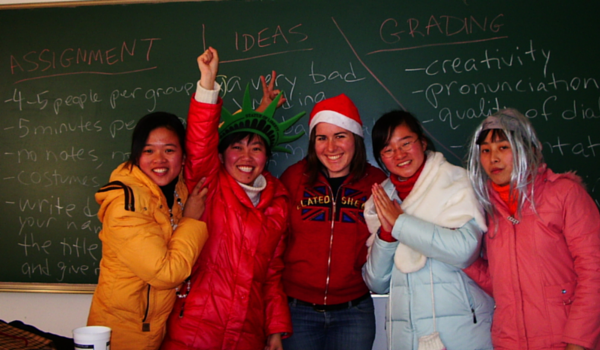 leslie with students in china circa 2006
