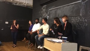 Design Sprint: Sexual Health. Panelists (from left to right): Rachel Gelman, DeMarus Allen-Batieste, Michael Vargas, Zabrina Law, Elise Racine. October 15, 2016.